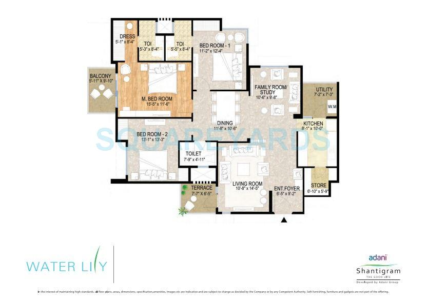 3 Bhk 2433 Sq Ft Apartment For Sale In Adani Shantigram Water Lily At Rs 3650 Sq Ft Ahmedabad