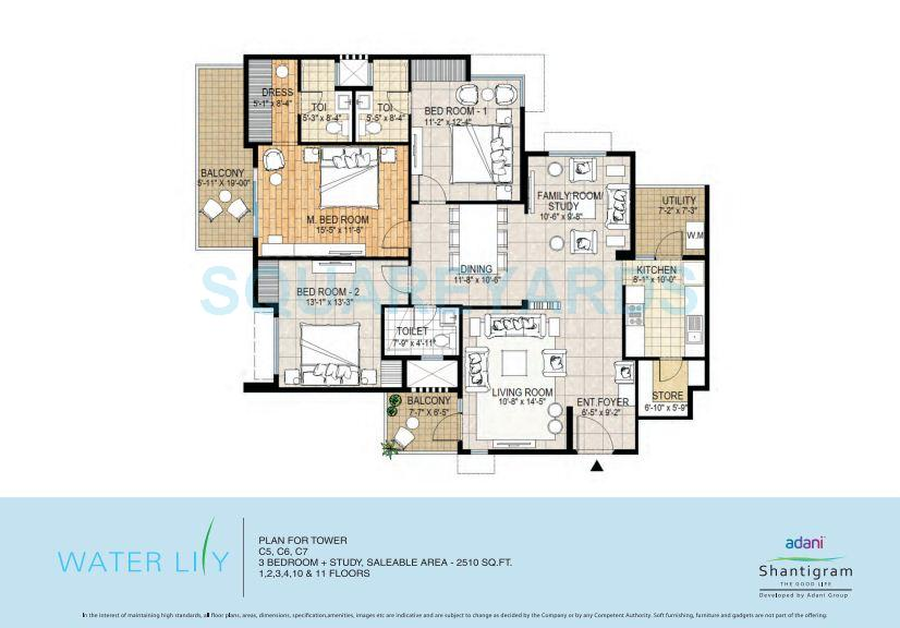 3 Bhk 2510 Sq Ft Apartment For Sale In Adani Shantigram Water Lily At Rs 3650 Sq Ft Ahmedabad