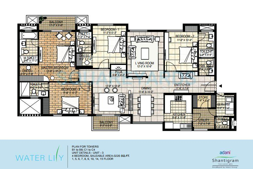 4 Bhk 3220 Sq Ft Apartment For Sale In Adani Shantigram Water Lily At Rs 3650 Sq Ft Ahmedabad