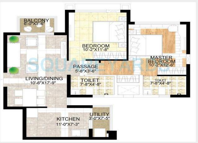 adani the meadows apartment 2bhk 1080sqft1