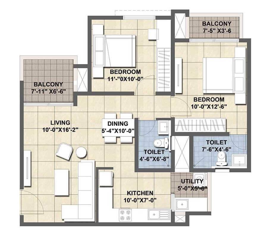 ajmera lugaano apartment 2bhk 645sqft1