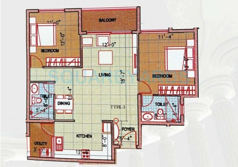 ajmera stone park apartment 2bhk 1140sqft1