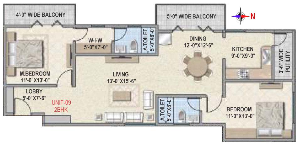 amigo estella apartment 2bhk 1148sqft 1