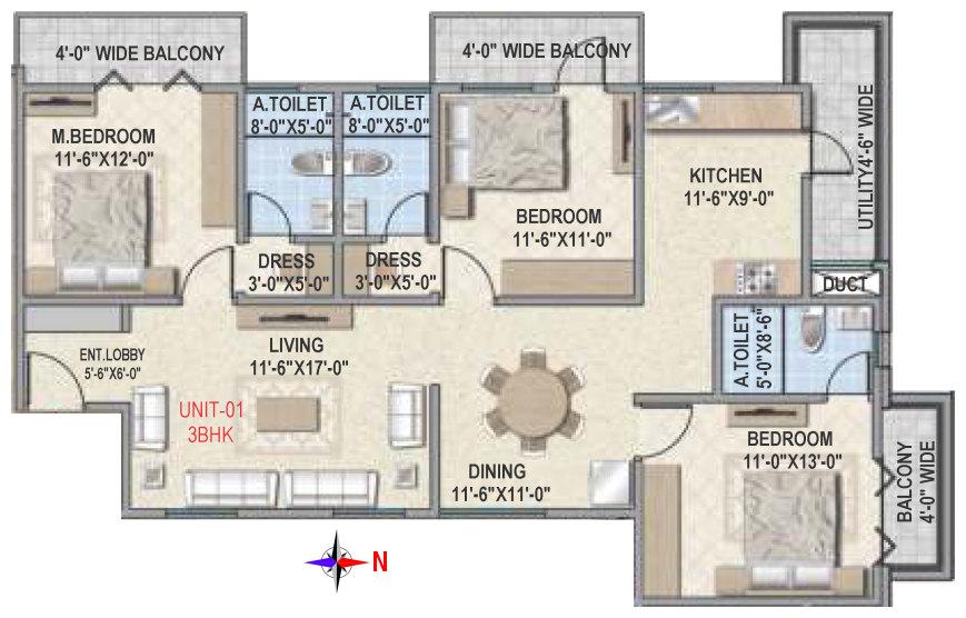 amigo estella apartment 3bhk 1573sqft 1