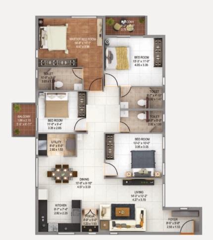 anand alpine apartment 4bhk 2061sqft 1