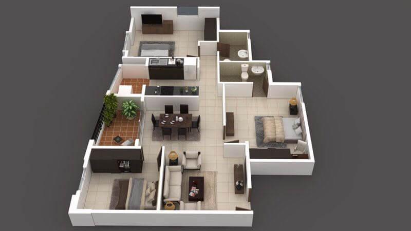 arun northern destiny apartment 3bhk 850sqft 1