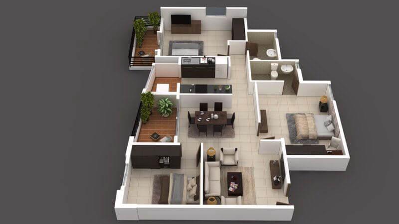 arun northern destiny apartment 3bhk 870sqft 1