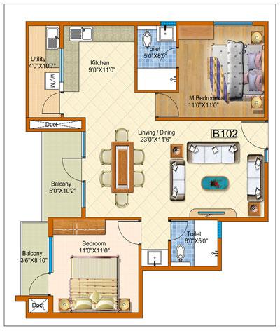 arun patios apartment 2bhk 1215sqft 1