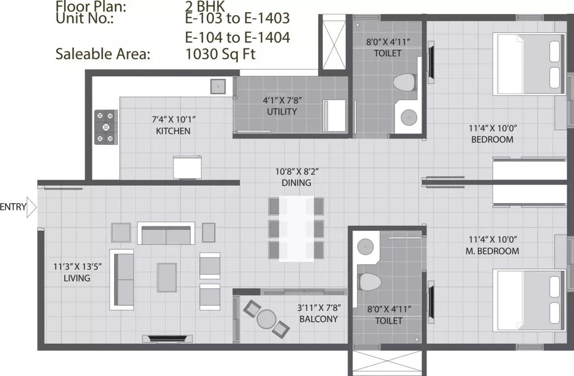 arvind sporcia apartment 2bhk 1030sqft271