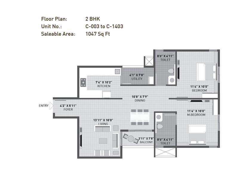 arvind sporcia apartment 2bhk 1047sqft1