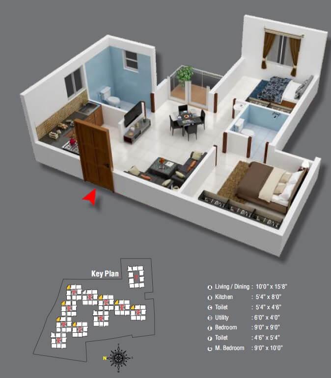 aryan golden arena apartment 2bhk 633sqft 1