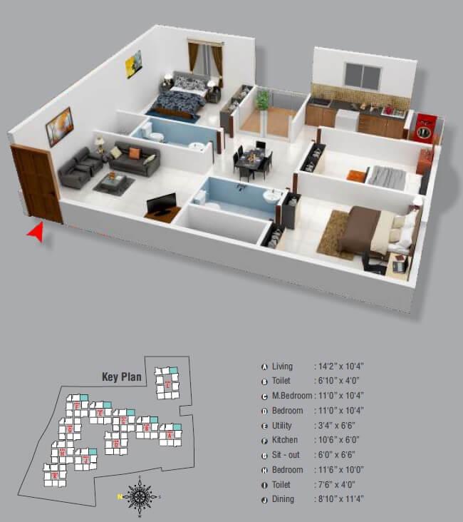 aryan golden arena apartment 3bhk 1033sqft 1