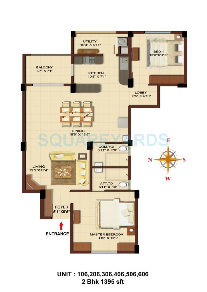 asset builders aura apartment 3bhk 1395sqft 1