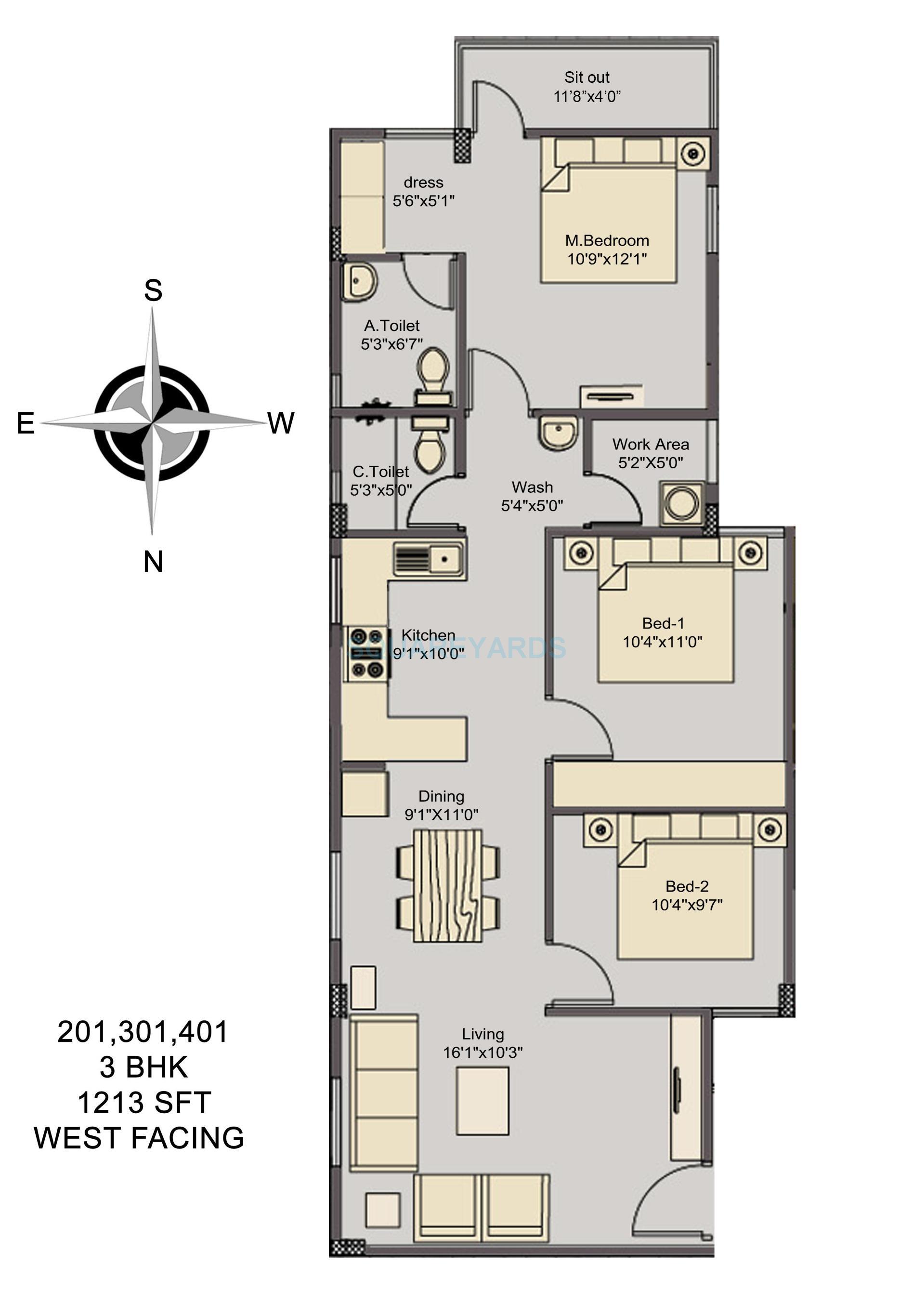 asset builders elvira apartment 3bhk 1213sqft1