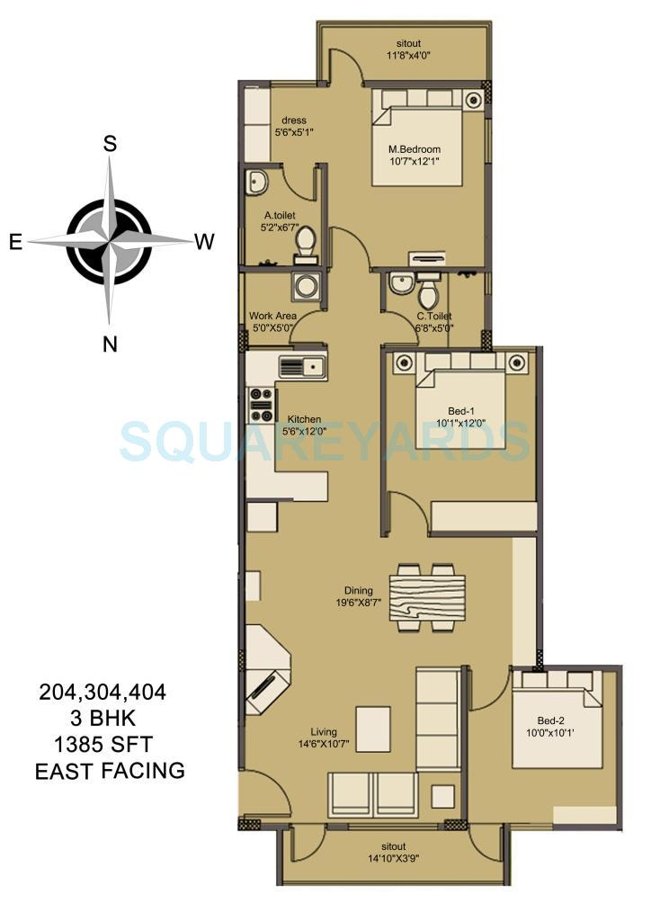 asset builders elvira apartment 3bhk 1385sqft1