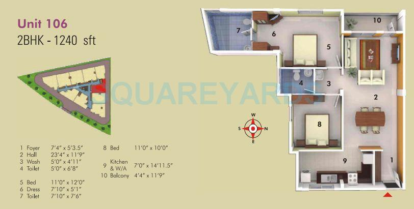 asset builders serene apartment 2bhk 1240sqft1