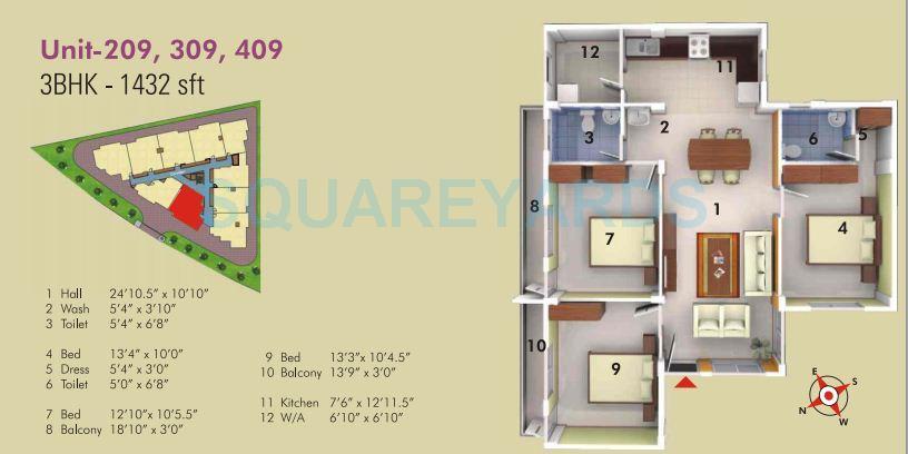 asset builders serene apartment 3bhk 1432sqft 1