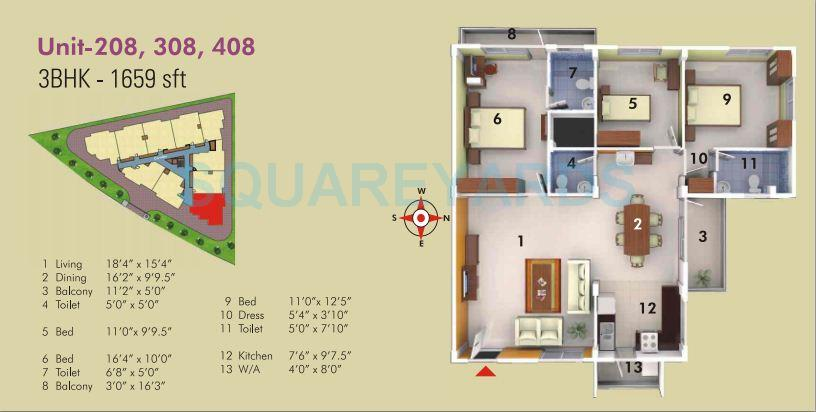asset builders serene apartment 3bhk 1659sqft1