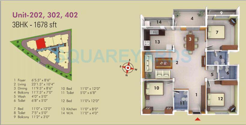 asset builders serene apartment 3bhk 1678sqft1