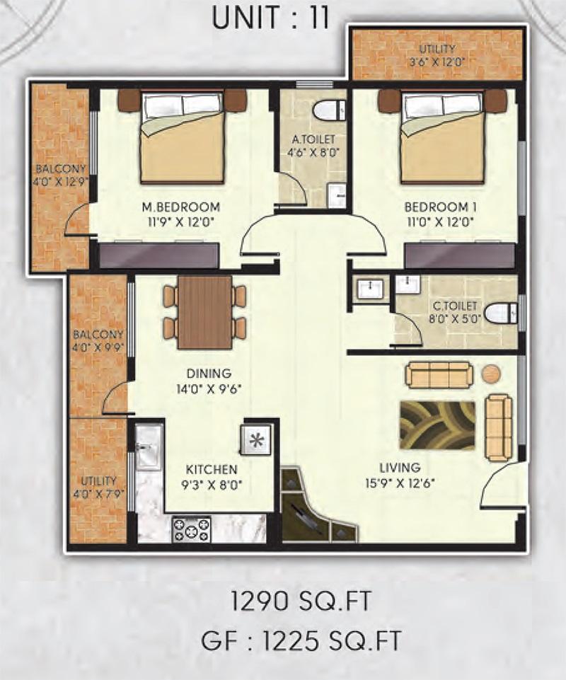 avani garden apartment 2bhk 1290sqft 1