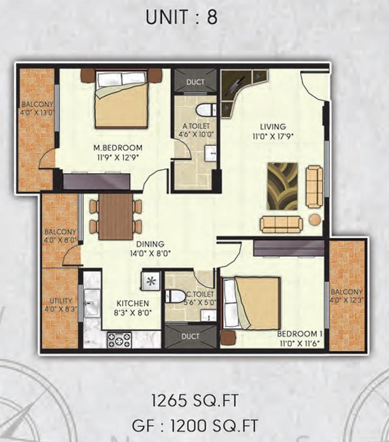avani gardens apartment 2bhk 1265sqft 1