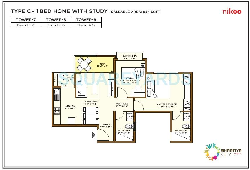 bhartiya nikoo homes apartment 1bhk 934sqft1