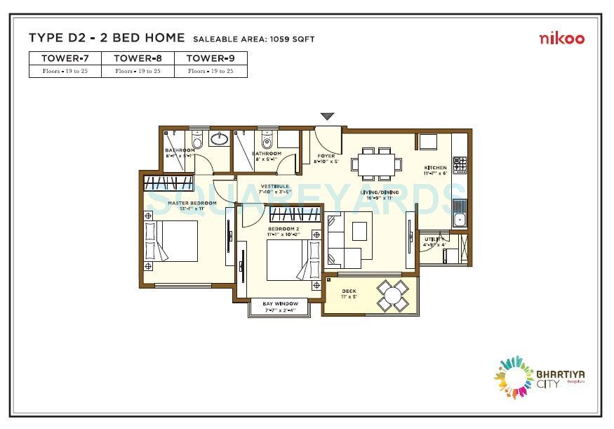 bhartiya nikoo homes apartment 2bhk 1059sqft1