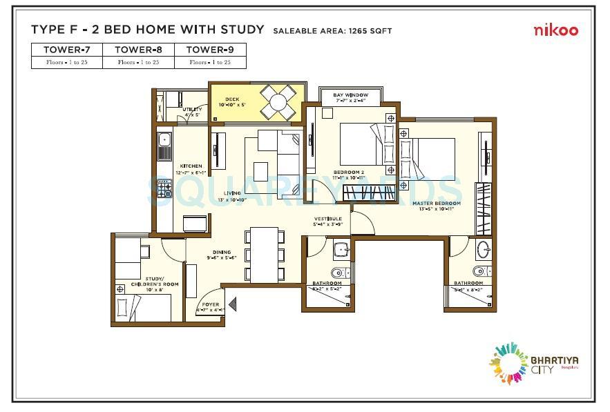 bhartiya nikoo homes apartment 2bhk 1265sqft1