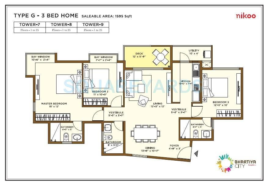 bhartiya nikoo homes apartment 3bhk 1595sqft1