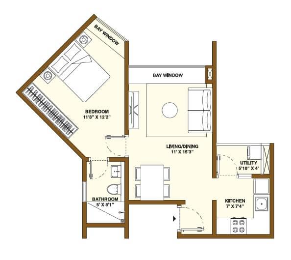 bhartiya nikoo homes phase 2 apartment 1bhk 434sqft 1