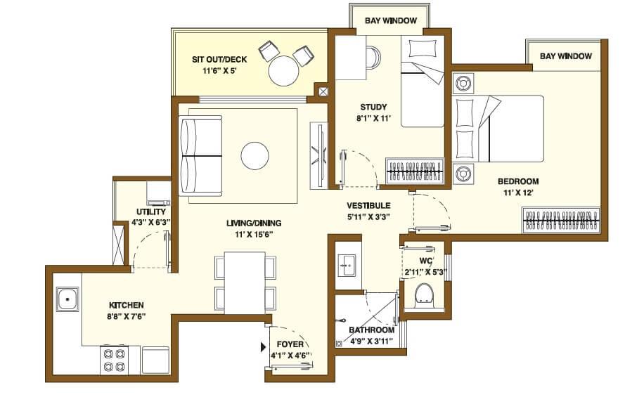 bhartiya nikoo homes phase 2 apartment 1bhk st 579sqft 1