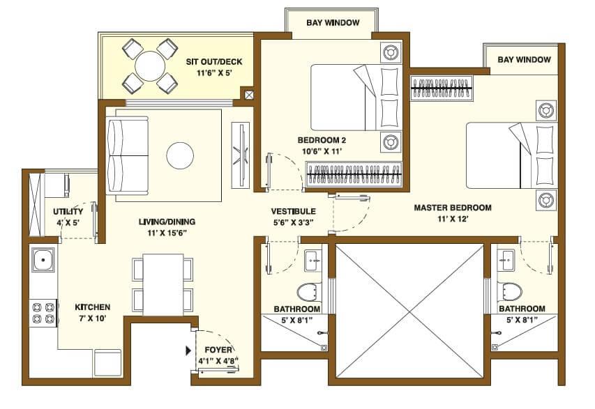 bhartiya nikoo homes phase 2 apartment 2bhk 1031sqft 1