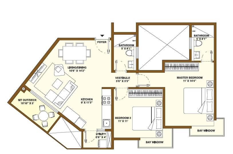 bhartiya nikoo homes phase 2 apartment 2bhk 1125sqft 1