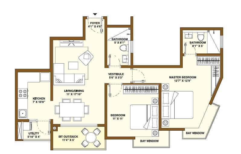 bhartiya nikoo homes phase 2 apartment 2bhk 710sqft 1