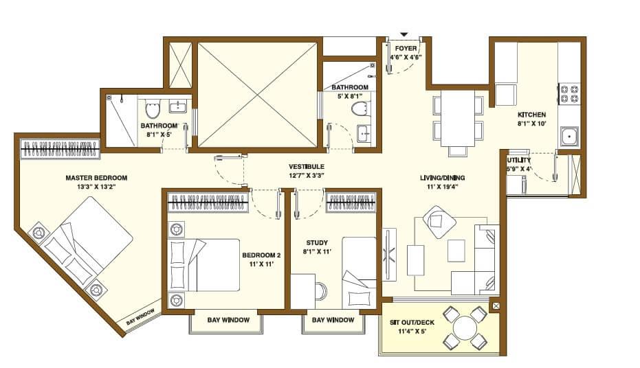 bhartiya nikoo homes phase 2 apartment 2bhk st 1349sqft 1