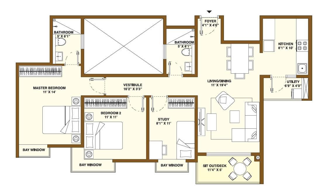 bhartiya nikoo homes phase 2 apartment 2bhk st 856sqft 1