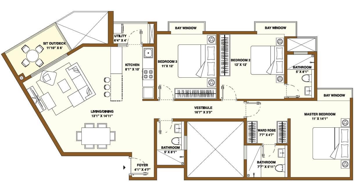 bhartiya nikoo homes phase 2 apartment 3bhk 1121sqft 1