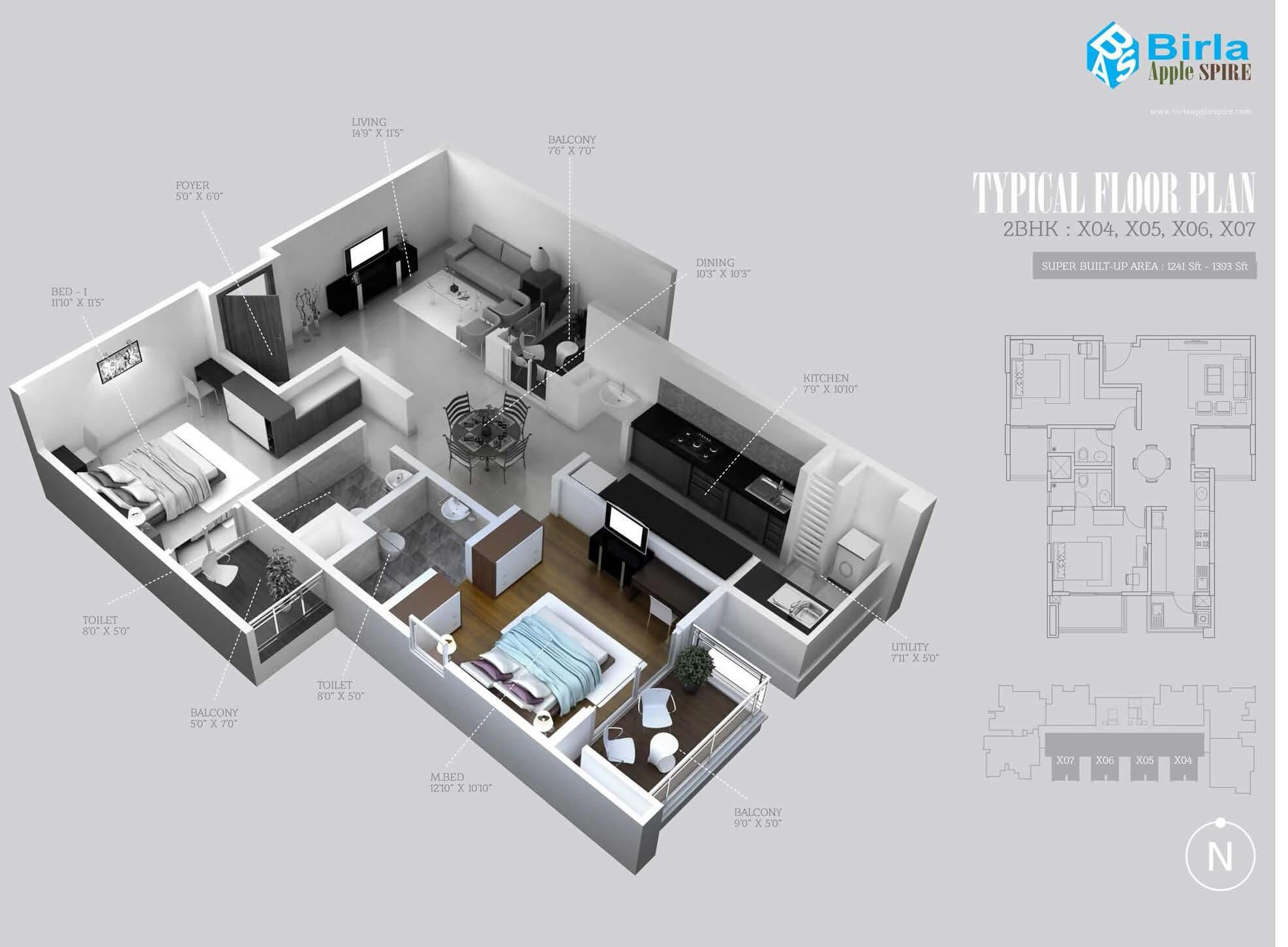 birla apple spire apartment 2bhk 1279sqft 1