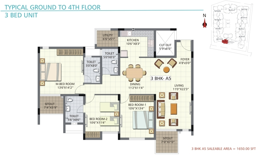 bren palms apartment 3bhk 1650sqft 1