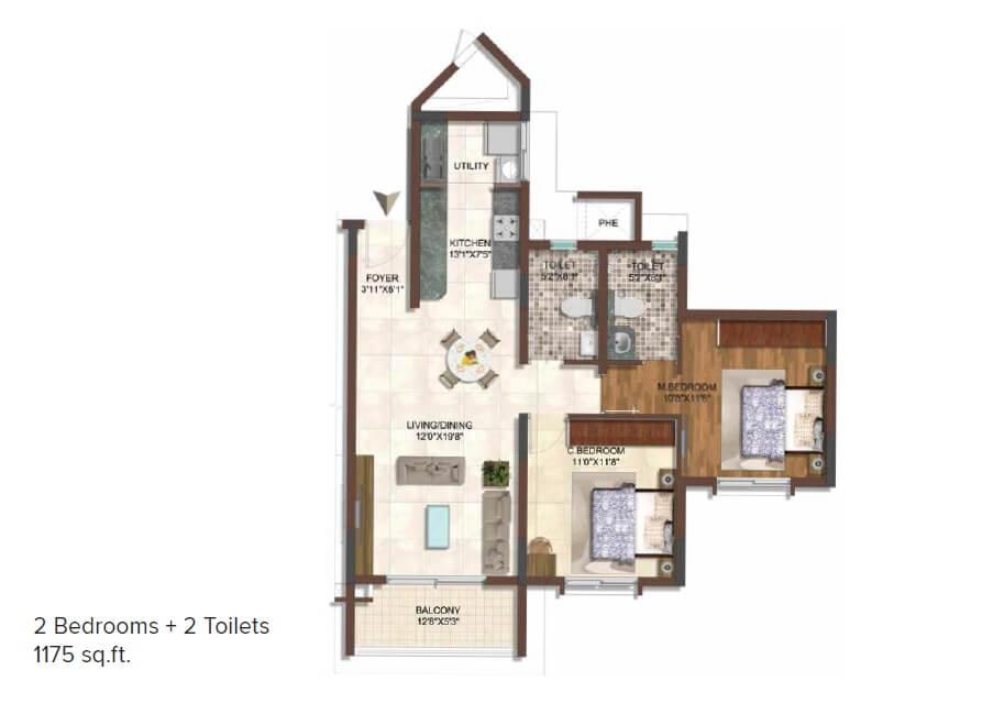 brigade 7 gardens apartment 2bhk 1175sqft 1