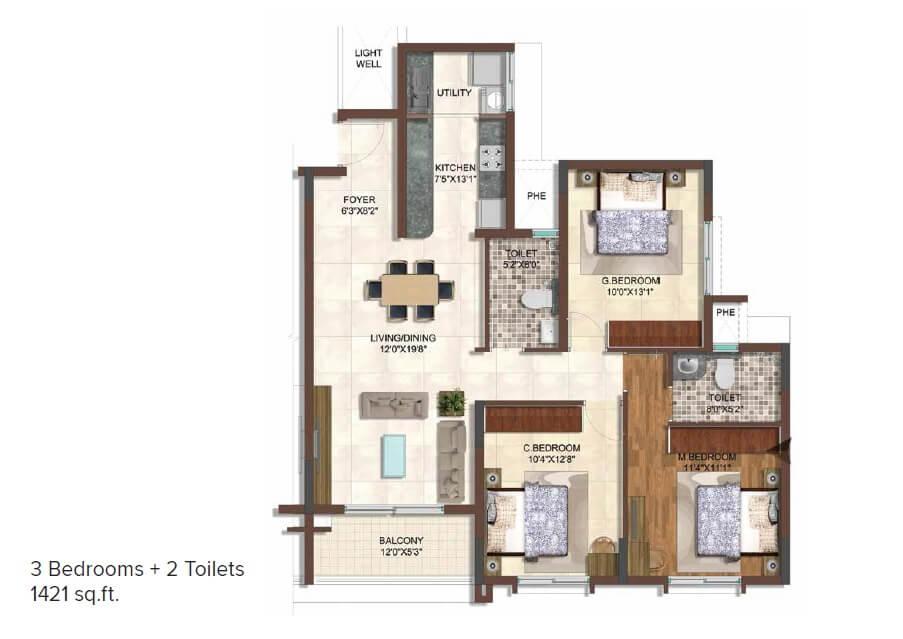 brigade 7 gardens apartment 3bhk 1421sqft 1