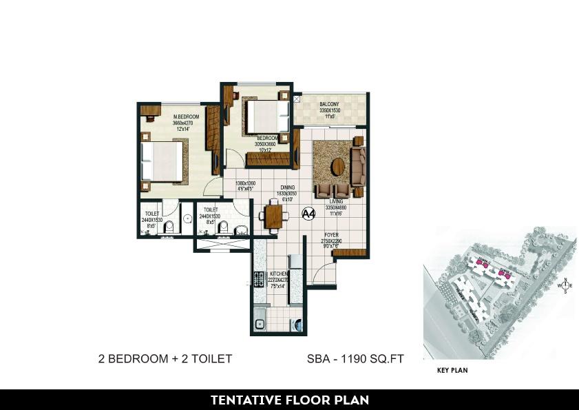 brigade buena vista apartment 2bhk 1190sqft 1