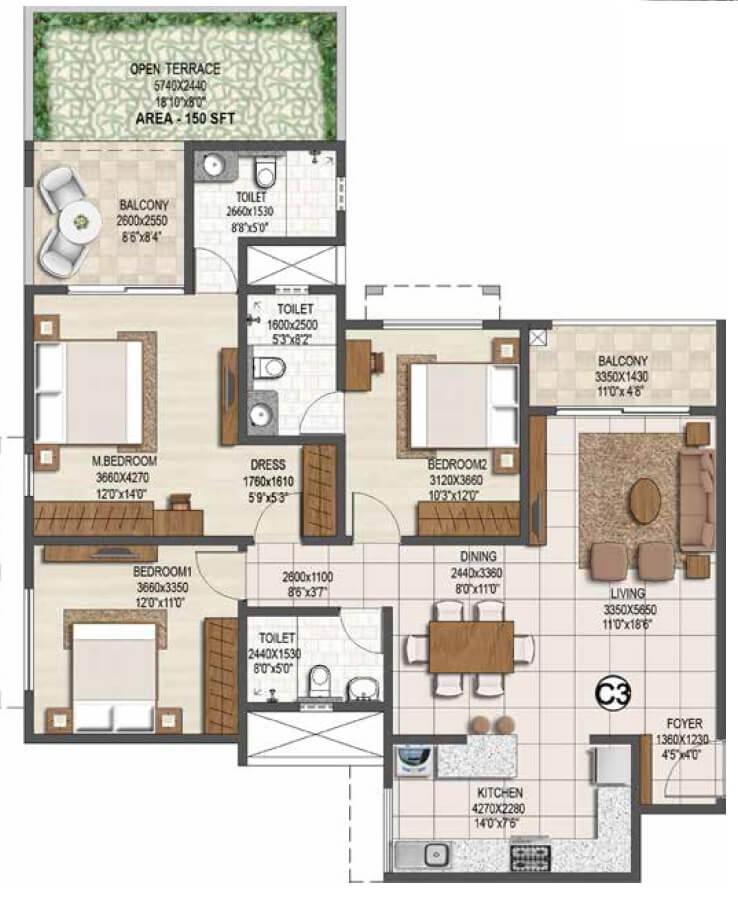 brigade buena vista apartment 3bhk 1087sqft 1