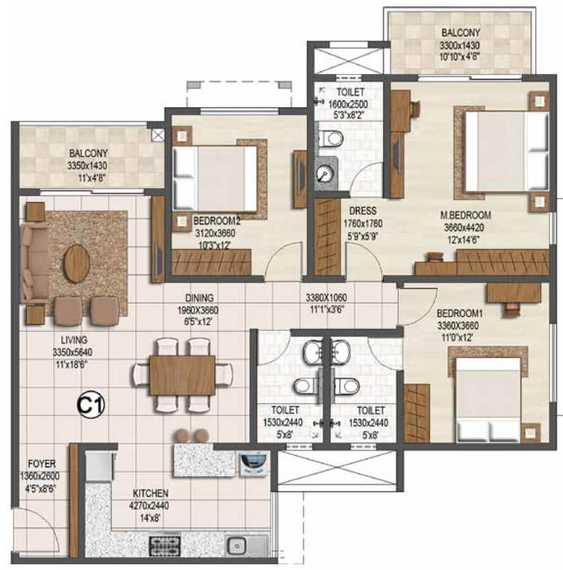 brigade buena vista apartment 3bhk 1120sqft 1