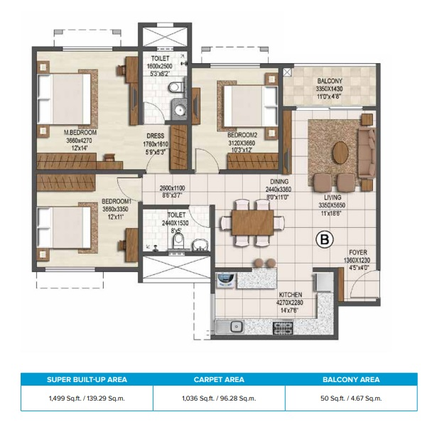 brigade buena vista phase ii apartment 3bhk 1499sqft 1