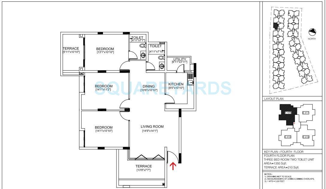 brigade courtyard apartment 3bhk 1350sqft1