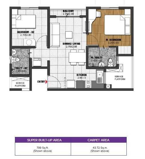 brigade el dorado gallium apartment 2bhk 799sqft 1