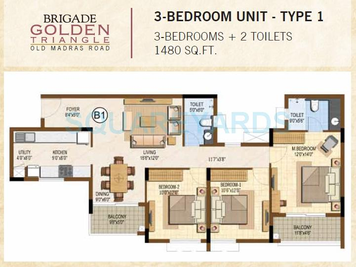 3 bhk 1490 sq ft apartment for sale in brigade golden triangle at 3 bhk 1490 sq ft apartment floor plan malvernweather Images