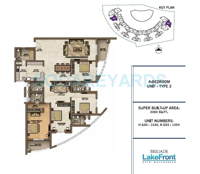 4 BHK 3360 Sq. Ft. Apartment For Sale In Brigade Lakefront