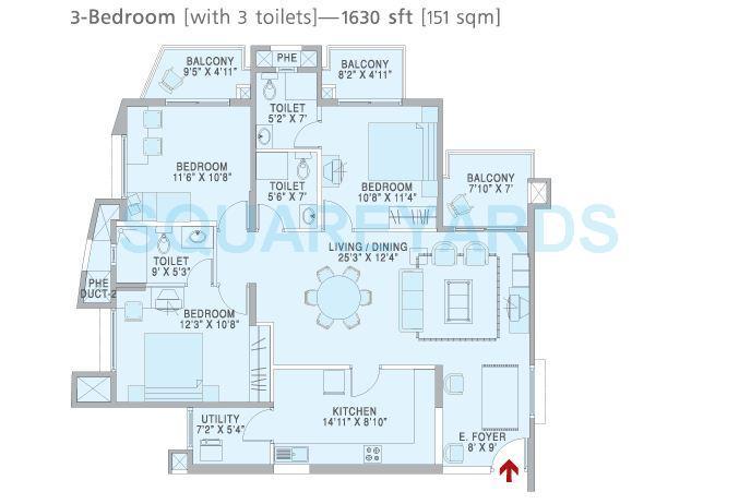 brigade metropolis apartment 3bhk 1630sqft1